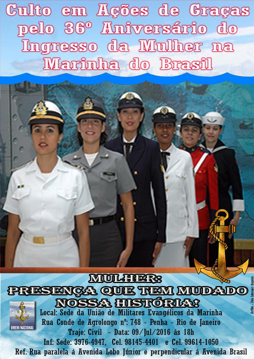 Culto em Ações de Graças pelo 36º Aniversário do Ingresso da Mulher na Marinha do Brasil